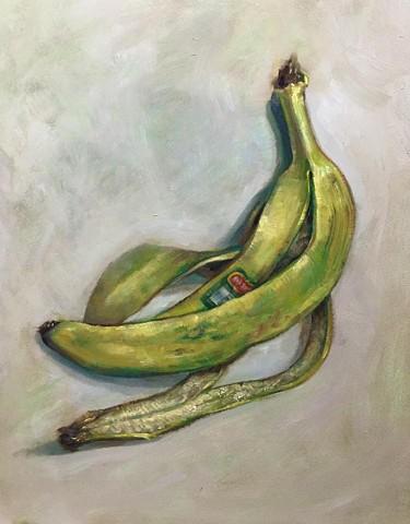 """banana peel"" oil on panel 11""x14"""