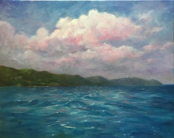 "pink clouds over Cane Bay, oil on canvas, 16""x20"""