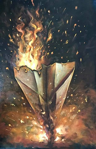 """burning plane"" oil on canvas ""24x36"""