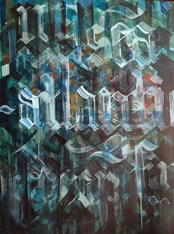 """""""ocean words 2"""" acrylic on canvas 18""""2x4"""""""