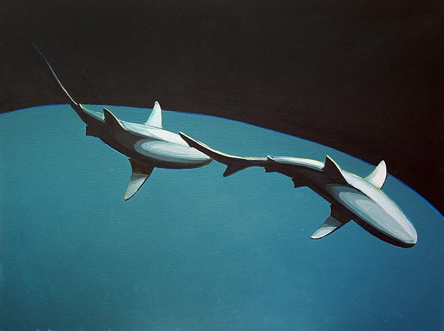 "shark pair blue ""30x40"" acrylic on canvas"