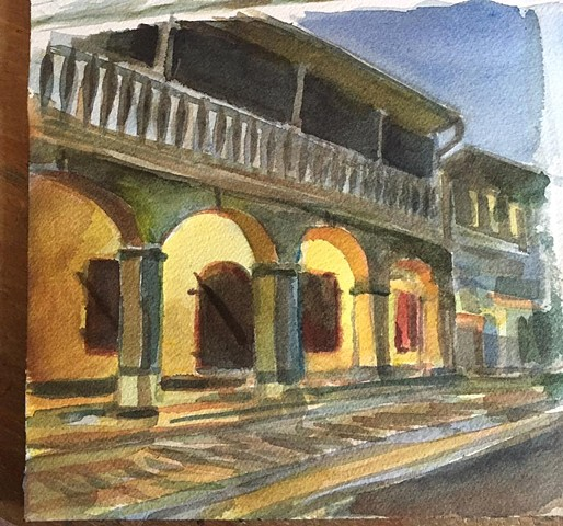 """Frederiksted evening""  watercolor on paper 8""x10"""