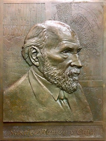 bronze relief of Ramón Cajal