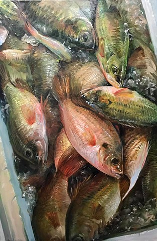 """""""fish cooler"""" oil on canvas 24""""x36"""""""