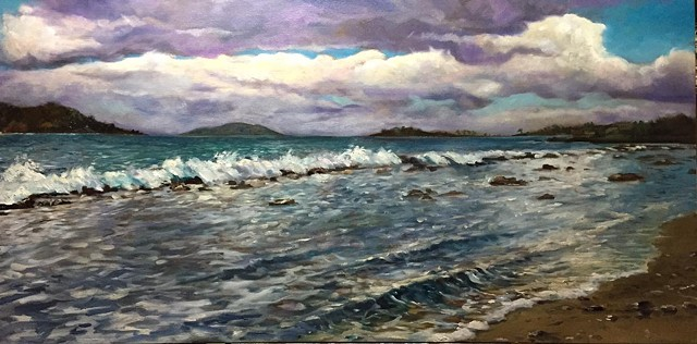 """clouds over buck island"" oil on canvas 24""x36"""