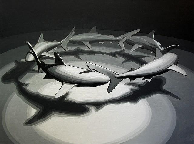 """Shark Circle 2   30""""x40"""" acrylic on canvas"""