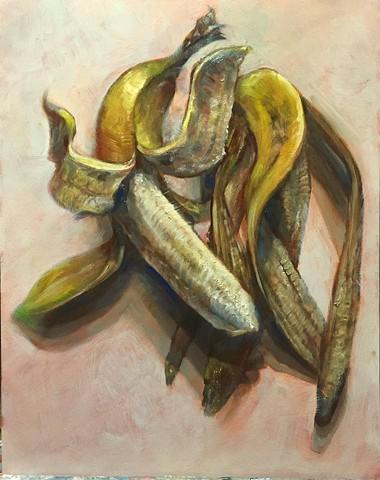 """""""a banana and peel"""" oil on panel 11""""x14"""""""