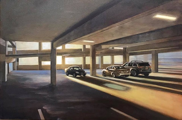 """light at the end of the parking garage"" oil on canvas 24""x30"""