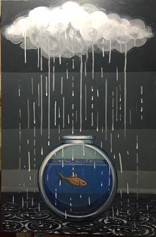 """rain delay"" acrylic on canvas 24""x36"""