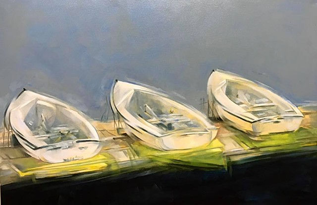 """""""boats on the dock"""" oil on canvas 24""""x36"""""""
