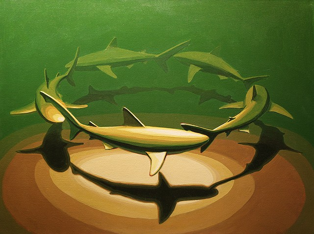 "shark circle 5 30""x40"" acrylic on canvas"