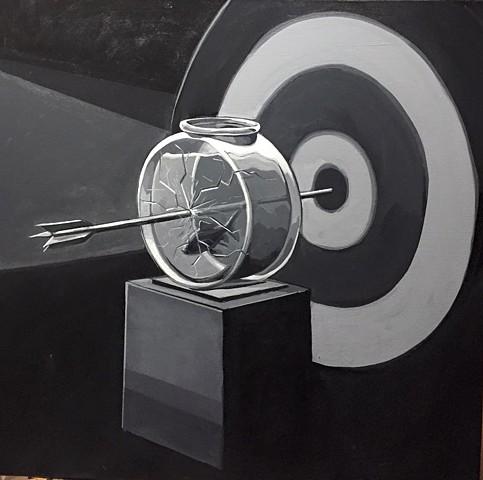 """target practice(BW)""acrylic on canvas 24""x24"""
