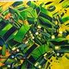 green pickup, acrylic on canvas,16x20