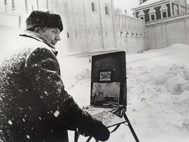 Moscow Painter Painitng a Summer Scene in Winter