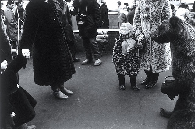 Moscow Mothers with Children and Stuffed Bear, all Wearing Fur