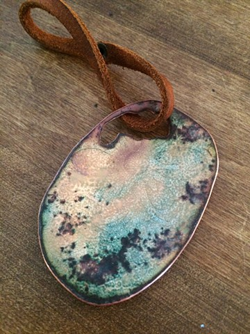 Vitreous enamel, torch fired enamel, enamel, copper, leather, mental health, comfort, enamel accesories