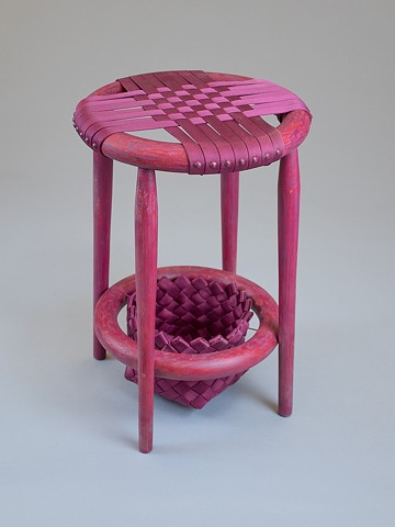 Custom Woven Stool With Removable Basket