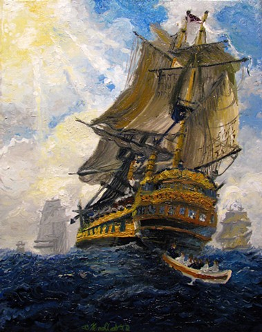Inspired by Peter Monamy's Harbor Scene: An English Ship with Sails Loosened Firing a Gun