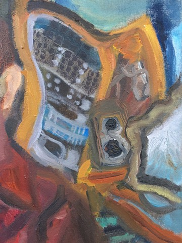 Brian Mouhlas BrianMouhlasArt Strongsville Austin in Recording Studio Painting 2012 Neo-Expressionism Neo-Figurative Neo-Portraiture Hauntology Allegory Cleveland Art Ohio Art Ambiguous Contemporary Art Abject Impasto Brian_Mouhlas Artist Painting Express