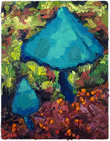 Brian Mouhlas Electric Blue Oil Painting Oil on canvas Cleveland Strongsville Parma Mushroom Mushroom Painting