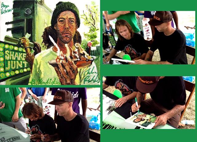 Andrew Reynolds & Bryan Herman signing my painting