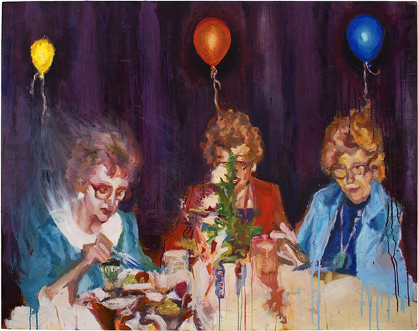 Brian Mouhlas Grandmas Balloons Dinner Table Party Birthday Figure Figurative Expressionism Magic Realism Oil Painting Cuyahoga County Parma Strongsville Ohio Cleveland Art Contemporary Art Contemporary Painting HEDGE Art Gallery 2016