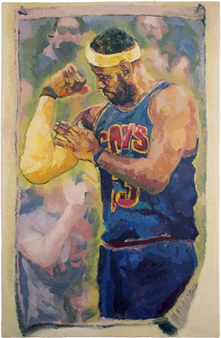 Brian Mouhlas Lebron James Painting Cleveland Cavaliers Basketball NBA Figure Figurative Expressionism Magic Realism Oil Painting Cuyahoga County Parma Strongsville Ohio Cleveland Art Contemporary Art Contemporary Painting HEDGE Art Gallery 2016