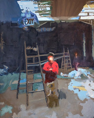 Brian Mouhlas On The Ladder Exit Sign Factory Figure Figurative Expressionism Magic Realism Oil Painting Cuyahoga County Parma Strongsville Ohio Cleveland Art Contemporary Art Contemporary Painting HEDGE Art Gallery 2014