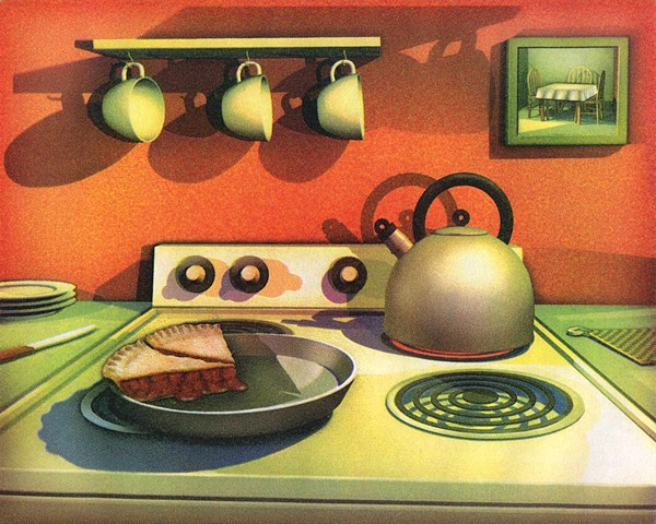 Cherry pie, 2 pieces left, 3 cups, tea kettle, kitchen scene, enough to share