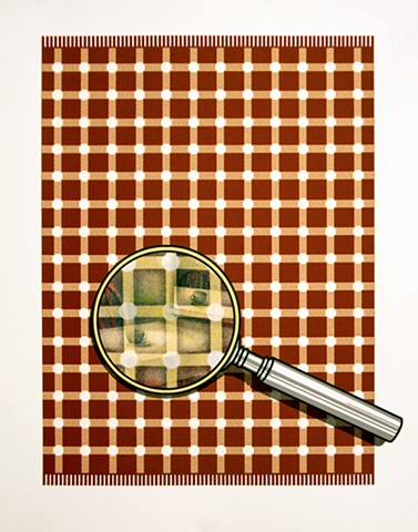 magnifying glass on fabric pattern