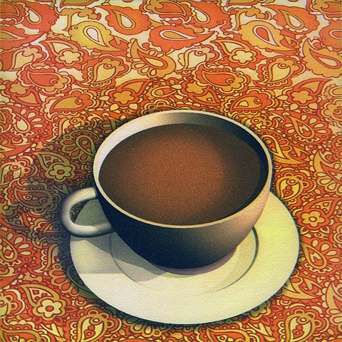 Coffee cup on paisley pattern