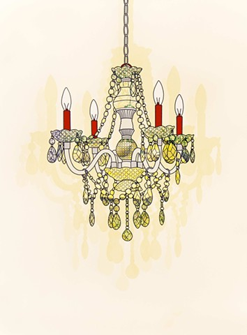 Screenprint with chandelier and shadows