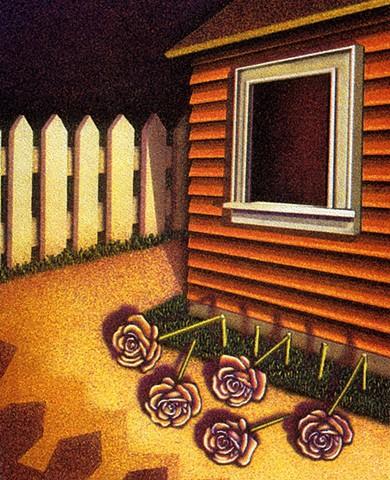 Night scene outside, house, picket fence, broken flowers