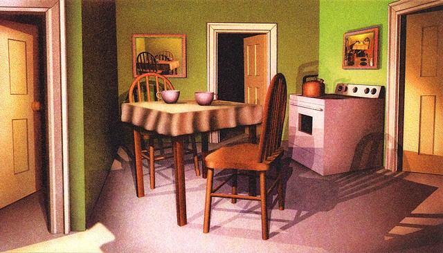 Conversation in a kitchen with multiple doors, a comedy of errors