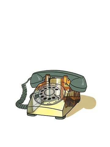 Rotary telephone with kitchen scene