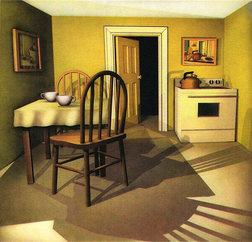 Kitchen scene, table, 2 chairs, cups, shadows on floor, voices in your head