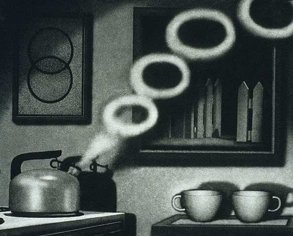 Black and white kitchen scene, coffee cups, tea kettle blowing smoke rings of distress