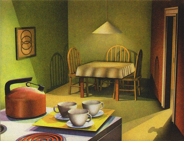 tea kettle and three cups, three's a crowd, kitchen scene