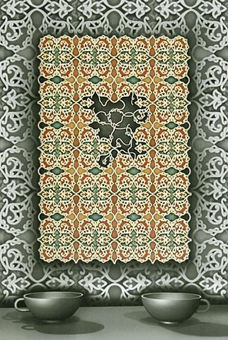2 cups, patterned lace, crochet, frayed, Janet Ballweg, janetballweg