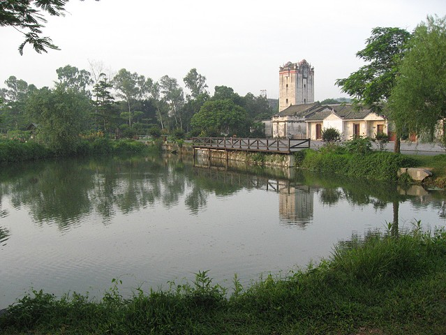 View across pond near housing