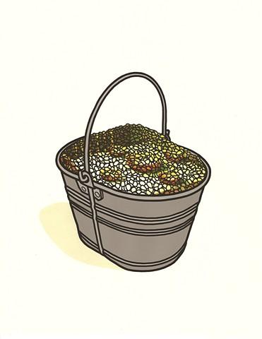 bucket of corn kernels