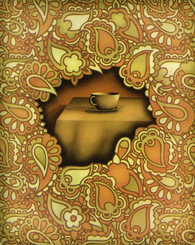 Paisley pattern surrounding cup on table, desire, longing