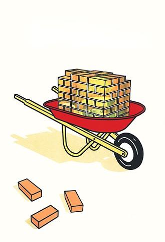 wheelbarrow, bricks, one brick short