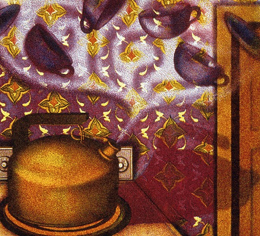 Teacups and saucers swirling in the air over a tea kettle or teapot, Islamic pattern on back wall