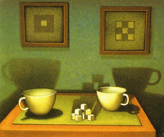 Coffee or tea cups and sugar cubes on a kitchen table, measuring up