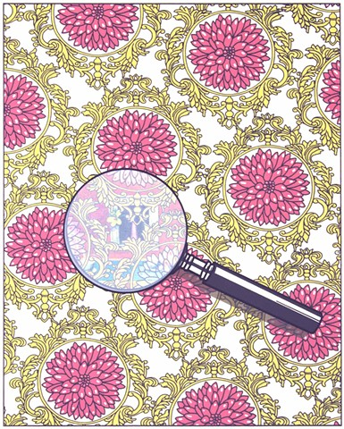Screenprint with flower pattern and magnifying glass