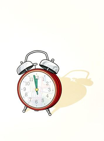 Screenprint with alarm clock