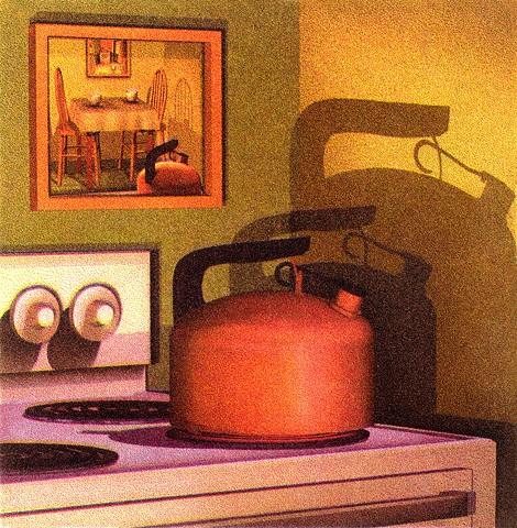 Tea kettle on stove, mirror behind, watching