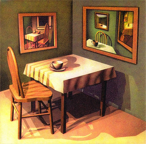 Table, chair, one cup, Reflective, facing mirrors, thinking in a circular pattern