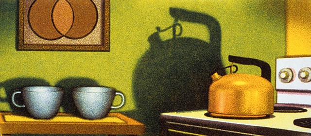 Pregnant tea kettle shadow, anticipation, tea cups in kitchen, stove